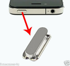 SILVER METAL TOP OUTER POWER BUTTON + INNER CONTACT PART SPRING FOR IPHONE 4 4S