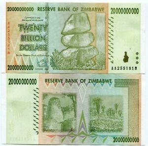 Zimbabwe twenty billion dollars banknotes used