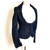 Miss Sixty Denim Blazer Size Small UK 10 Dark Blue Fitted Stretch Jacket Crop