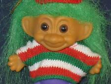 "2.75"" RUSS GREEN HAIRED ELF MULTI-COLORED SWEATER & PURPLE PANTS u334a"