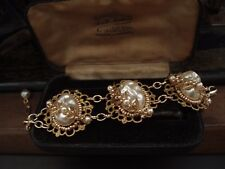 Vintage Bracelet Baroque Pearls, Seed Beads & Haskell Gold leaves, Adjustable