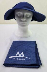 Mission Endura Cool Convertible Hat/Visor & Towel Lot - Blue Hat/Blue Towel NWOT