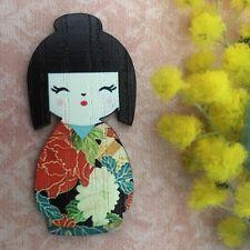 Geisha wood BROOCH Cute wooden jewelry Kawaii badge Japan Kimmi kimono jewellery