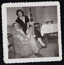 Vintage Antique Photograph Man & Woman Sitting on Chair in Retro Room