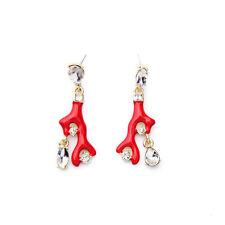 Exquiste Anthropologie Red Enamel Coral Rhinestone Earrings