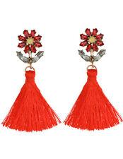 Bohemian Earrings Women Vintage Long Tassel Fringe Crystal Boho Dangle Earrings
