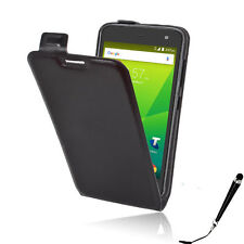 Black Leather Flip Card wallet Case Cover Telstra 4GX HD / ZTE Blade A475 +