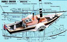 "Model Boat Plans 14 3/4"" Radio Control Paddle Wheeler Full Size Printed Plans"