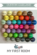Custom feutre boule Garland, Pom Pom Bunting, Wall Nursery Decor, 44 couleurs, Chambre de bébé