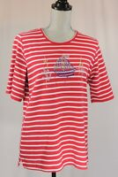 Quacker Factory MEDIUM Red White Striped Bling Nautical Sailboat Anchor T-shirt
