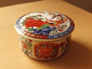 Vintage Japanese Oriental Porcelain Floral & Bird Design Trinket Pot Box