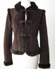 VALENTINO Brown Lambskin Suede Shearling Fur Jacket Coat 8