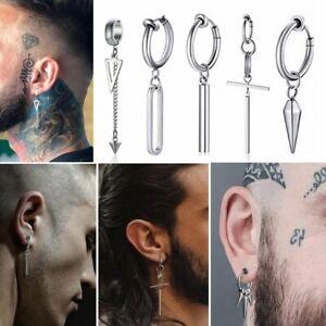 Stainless Steel Tassel Earring Punk Men No Ear Piercing Clip Geometric Earrings