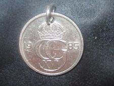 VINTAGE 20MM SWEDISH SWEDEN COIN CROWN SILVER PENDANT CHARM NECKLACE
