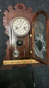 "ANTIQUE WATERBURY XERES GINGERBREAD MANTEL CLOCK WIND UP 21"" H"
