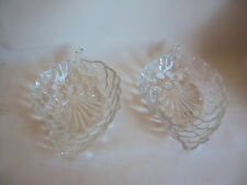 VINTAGE ANCHOR HOCKING CLEAR GLASS BUBBLE PATTERN CANDY DISH SET OF TWO