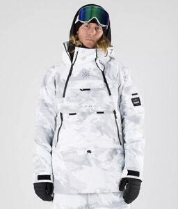 mens large montec dune snowboard jacket white grey black ski winter dope snow
