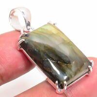 "Labradorite Handmade Ethnic Style 925 Silver Jewelry Pendant 1.97"" VJ-1079"