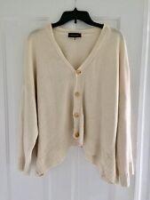 Eskandar Cream Hand-Loomed 100% Linen Knit Cardigan ~ One Size
