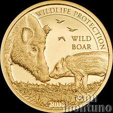 2018 Mongolia - Wild Boar - Wildlife Protection - 1/2 gram 24K Gold Coin .9999