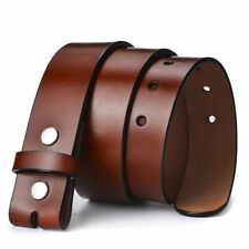 38mm Mens Solid Strap Genuine Leather Belt Replace Without Pin Buckle Snaps