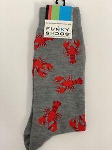 Lobsters Ocean Beach Funky Socks Men's Dress Casual Novelty Crew Socks Maine