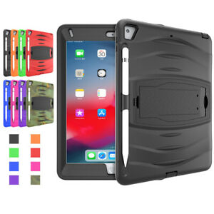 Stand Rubber Bumper Shockproof Case Armor Pencil Holder For iPad Air 2 / 3rd Gen
