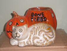 Yankee Candle Boney Bunch Bone Tired Cat & Pumpkin Votive Holder New In Box