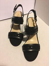 "Nine West Forbyforo Women's Black Wedge Studs Sandal Size 10m Buckle 3.5"" Heel"