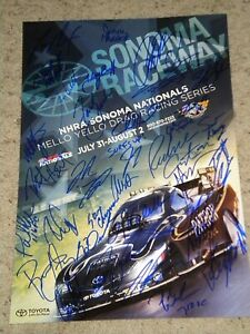 NHRA DRIIVERS 2015 SONOMA NATIONALS 34 AUTOS SIGNED 13X19 Poster coa john force