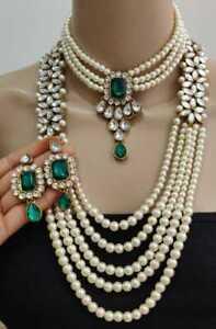 Indisch Bollywood Braut Kundan Hochzeit Gold Mode Perle Schmuck Halskette Set