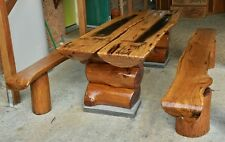 Log Dining Kitchen Indoor Outdoor Set Table and Benches Hardwood Heavy Duty