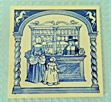 Burroughs Wellcome Co. Delft Pharmacy Pill Tile Customers at the Apothecary