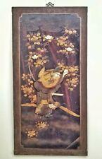 "Antique Japanese shibayama bone, horn, mother of pearl mop meiji panel 18x35"""