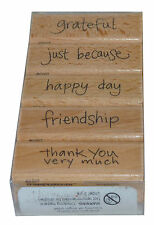 Stampendous! Grateful Stamp Set - 5 Wooden Mounted Rubber Stamps - Thank You