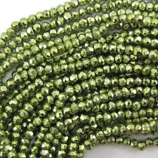 """3mm faceted green pyrite rondelle beads 13"""" strand"""