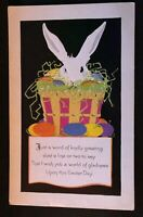 Art Deco~Bunny~Rabbit in Grassy Basket~with Eggs~Antique~ Easter Postcard--s210