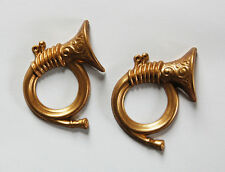 Vintage 2 Brass French Horn Stampings Steampunk Diy Repurpose Art Collage Parts