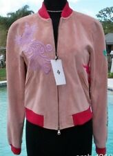 Donald Pliner Suede Leather Bomber Jacket Coat Embroidery New XS/S Lined $1500