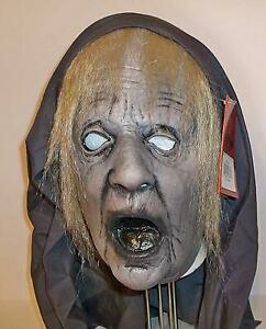 ADULT SCARY DEATH OLD LADY WITCH LATEX MASK WITH HOOD COSTUME ACCESSORY MACD103