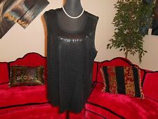 COVINGTON WOMAN NWOT BLACK SEQUINED SLEEVELESS COCKTAIL TOP PLUS 18W MSRP $44.00