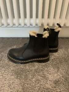 Dr Martens Leather 2976 Black Leonore Fur Lined Chelsea Boots UK 4 - Brand New