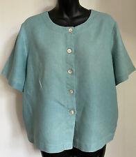 Orvis-women's Summer 100% Linen Soft Green Boxy Short Sleeved Blouse Top-M 10/12