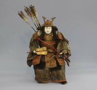 Japanese Antique Armed Samurai Large Gohun Doll Yoshitsune, Around 1780 Edo 16""