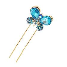 or pâle bleu océan papillon chignon épingles à cheveux accessoires tête déco