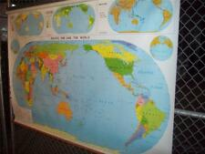"LARGE Nystrom Pacific Rim/World Map, Nystrom #1AP98 83"" ACROSS"