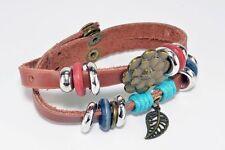 Morella Damen Lederarmband braun doppelt mit Ringen, Blatt und Blume Neu; K1 46