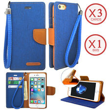 For iPhone Galaxy Note 9 /LG Canvas Denim Jean Card Wallet Case Cover with Strap