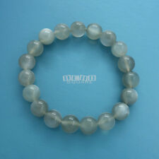 Natural Gray Moonstone Round Beads/Stretch Bracelet ap.10mm Silver Flash #19424