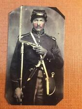 Civil War  Soldier with pistol tinted  tintype C1287RP